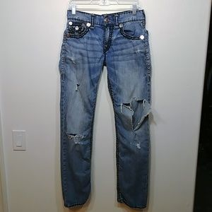 True Religion Straight Leg Destroyed Jeans size 29